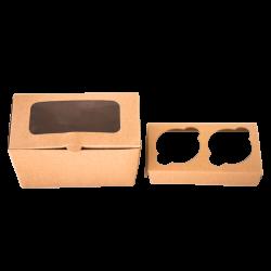 Caja para dos cupackes en kraft