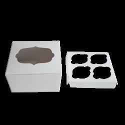 Caja para cuatro cupcakes con ventana en kraft claro