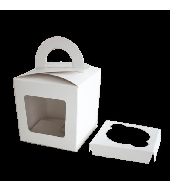 Caja para un cupcake con agarre color Blanco