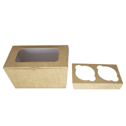 Caja para dos cupackes en kraft CRJ-KR Claro