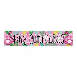 Letrero Banner Fiesta Flamingo